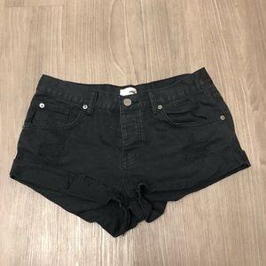 amuse society black denim shorts